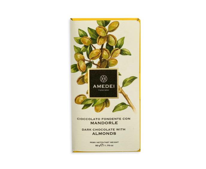 Amedei Toscano Black 63% hořká čokoláda s mandlemi 50 g