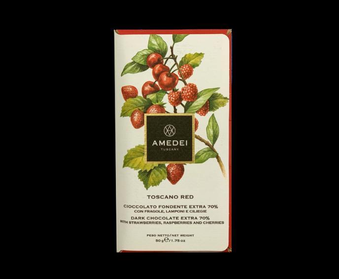Amedei Toscano Red 70% hořká čokoláda s červeným ovocem 50 g