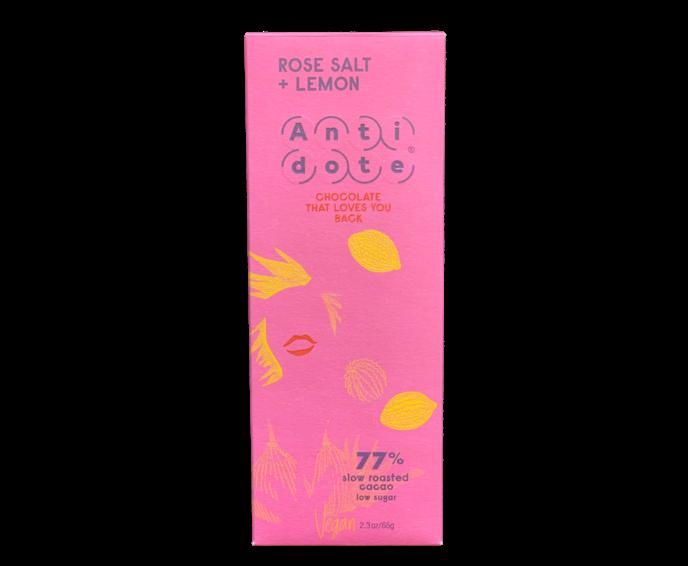 Antidote 77% hořká čokoláda - růžová sůl a citrón 65 g