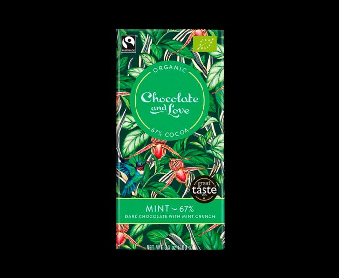 CH&L 67% hořká čokoláda - mátové křupinky BIO 80 g