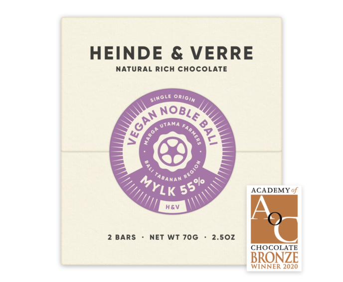 Heinde & Verre 55% hořká čokoláda Vegan Noble Bali Mylk 70 g