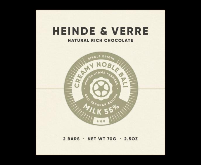 Heinde & Verre 55% mléčná čokoláda Creamy Noble Bali Milk 70 g