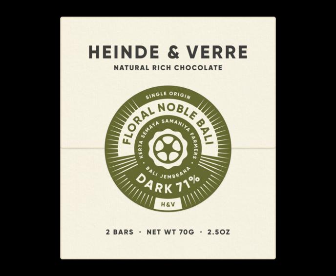 Heinde & Verre 71% hořká čokoláda Floral Noble Bali 70 g
