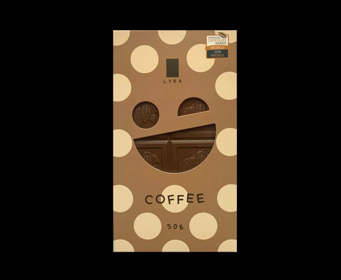 LYRA COFFEE - 40% mléčná čokoláda s kávou 50g