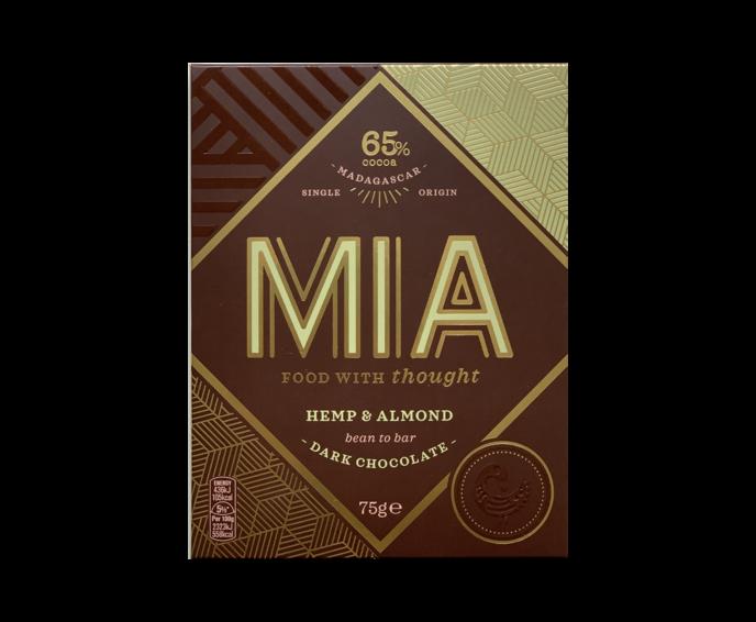 MIA 65% hořká čokoláda s konopnými semínky a praženými mandlemi 75 g