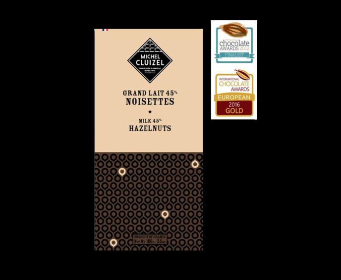 Michel Cluizel Grand Lait 45% mléčná čokoláda s lískovými ořechy 100g