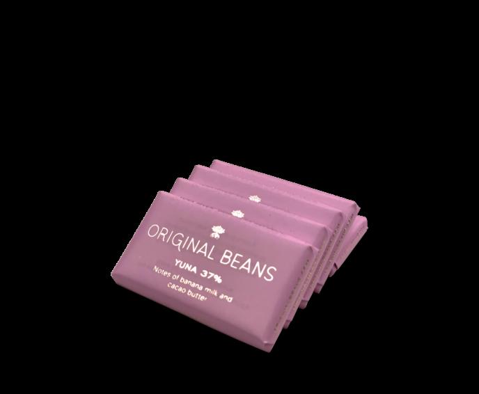 Original Beans Edel Weiss Yuna 37% bílá čokoláda PĚTKA sada 60 g