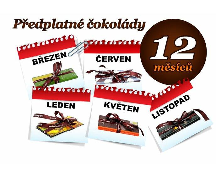 Předplatné čokolády na 12 měsíců, 1 tabulka (hořká i mléčná)