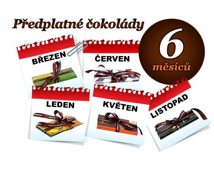 Předplatné čokolády na 6 měsíců, 1 tabulka (hořká čokoláda)