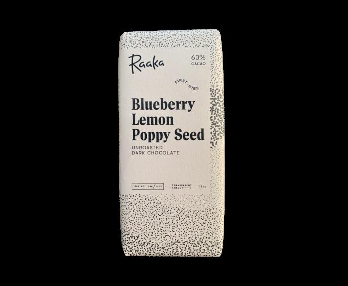 Raaka 60% hořká čokoláda Blueberry Lemon Poppy Seed Limited Edition 50 g