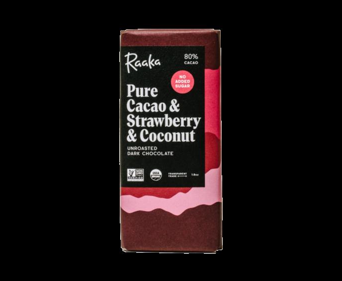 Raaka 80% hořká čokoláda Pure Cacao & Strawberry & Coconut 50 g