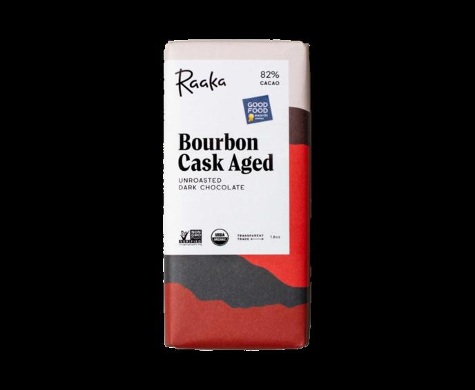 Raaka 82% hořká čokoláda Bourbon Cask Aged 50 g