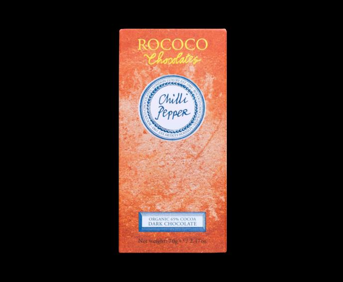 Rococo 65% hořká čokoláda - chilli papričky Bio 70g