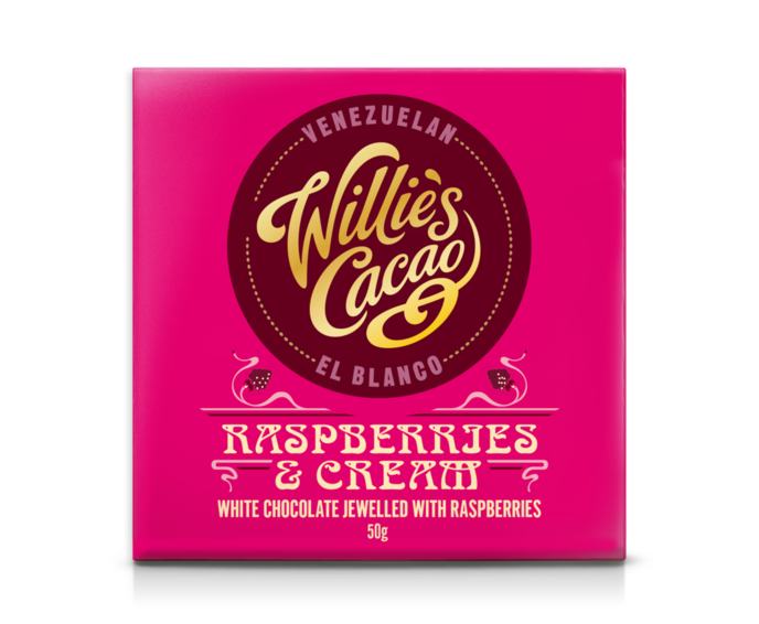 Willie's Cacao Raspberries & Cream 34% bílá čokoláda s malinami 50 g