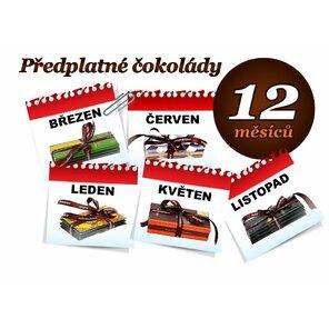 Předplatné čokolády na 12 měsíců, 3 tabulky (hořká i mléčná)