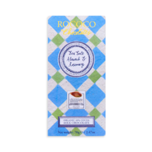 Rococo 40% mléčná čokoláda - mořská sůl, mandle a rozmarýn BIO 70 g