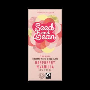 Seed and Bean 30% bílá čokoláda maliny a vanilka BIO 85 g