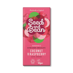 Seed and Bean 66% hořká čokoláda Sao Tome kokos a maliny BIO 85 g