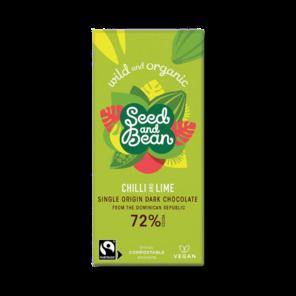 Seed and Bean 72% hořká čokoláda chilli a limetka BIO 85 g
