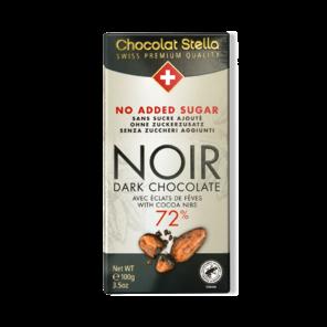 Stella 72% hořká čokoláda bez přidaného cukru s kousky kakaových bobů 100 g
