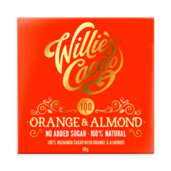 Willie's Cacao Orange & Almond 100% hořká čokoláda bez cukru 50 g