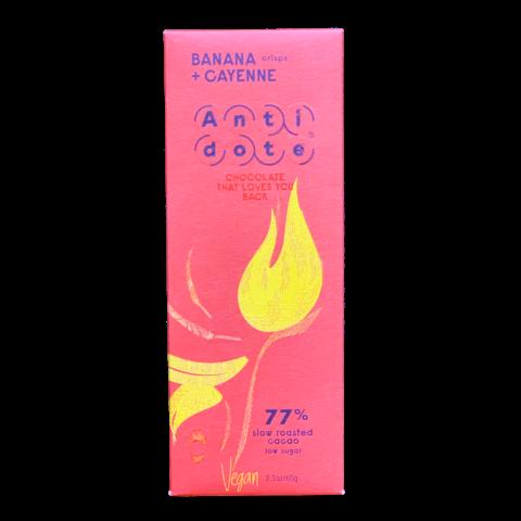 Antidote 77% hořká čokoláda - banán a kajenský pepř 65 g